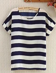 blusa azul, manga curta das mulheres listrado branco / marinho em torno do pescoço bonito