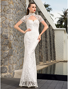 Lanting Bride Sheath/Column Petite / Plus Sizes Wedding Dress-Floor-length Sweetheart Lace / Satin