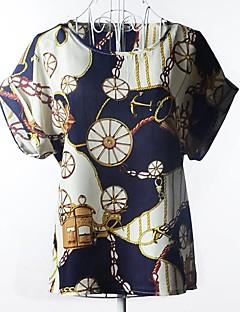 Mulheres Camiseta Casual Simples Verão,Estampado Colorido Decote Redondo Manga Curta Fina / Leve Transparência