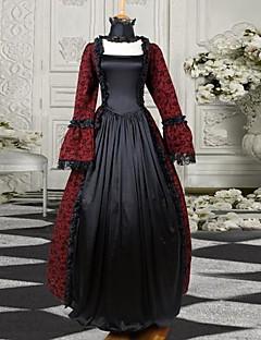 Burgundy och svart Långärmat Satin Classic viktorianska klänning