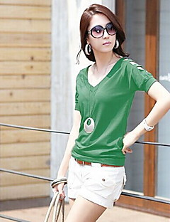 Women's V-neck Contracted Joker T-Shirts with Short Sleeves
