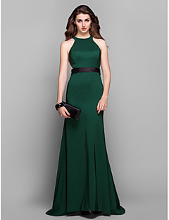 Formal Evening Dress - Dark Green Plus Sizes Sheath/Column Jewel Sweep/Brush Train Stretch Satin