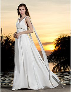 Lanting Bride A-line Petite / Plus Sizes Wedding Dress-Sweep/Brush Train Halter Georgette