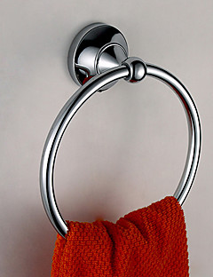 Silver Brass Wall-mounted Towel Ring