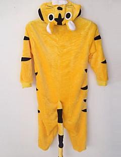 Kigurumi Pyjamas Tiger Trikot/Heldragtskostumer Festival/Højtider Animal Nattøj Halloween Gul Patchwork Flanel Kigurumi For Barn Halloween