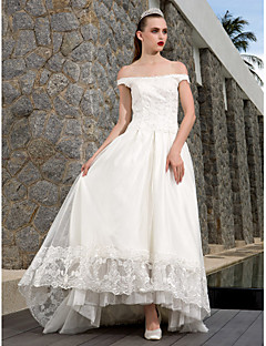 A-line Plus Sizes Wedding Dress - Ivory Asymmetrical Scoop Tulle/Lace