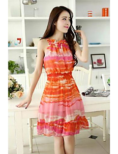 Women's Sexy / Casual / Party / Work Print Dress , Crew Neck A Line Above Knee Polyester / Chiffon