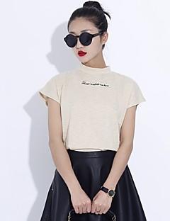 여성의 솔리드 짧은 소매 티셔츠 화이트 / 베이지 면 여름 중간