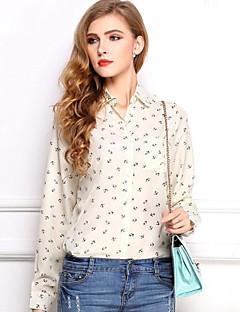 Kvinnors Turn Down geometri Print Chiffon långärmad skjorta