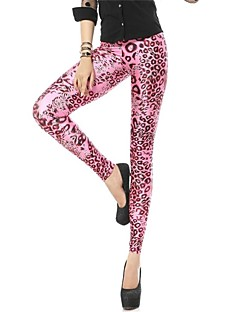 Das PinkQueen Mulheres Spandex Hot Pink Leopard Animal Print Leggings