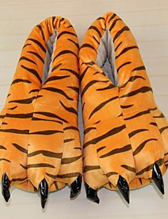 Kigurumi Pajamas Tiger Shoes Slippers Festival/Holiday Animal Sleepwear Halloween Orange Animal Print Polyester Cotton Slippers For Unisex