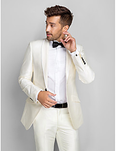 White Polyester Slim Fit Two-Piece Tuxedo