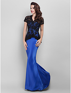 TS Couture® Prom / Military Ball / Formal Evening Dress - Royal Blue Plus Sizes / Petite Trumpet/Mermaid V-neck Floor-length Satin / Lace