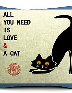 pays de coton de chat noir / lin taie d'oreiller décoratif