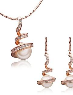 Dame Smykke Sæt Krystal Perle 18K guld Mode Skærmfarve Smykker For Speciel Lejlighed Fødselsdag
