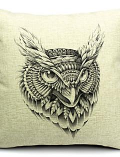 frais d'impression hibou coton / lin taie d'oreiller décoratif
