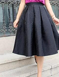 vintage preto / vermelho jacquard das mulheres representava saias