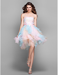 Cocktail Party / Prom / Holiday Dress-Multi-color Plus Size / Petite A-line Strapless Knee-length Lace / Tulle