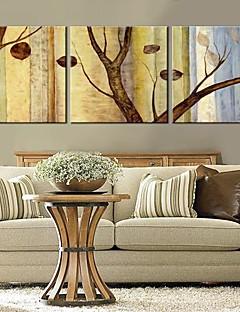 Stretched Canvas Art Träd och blad Set med 3