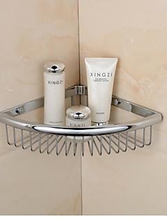cromo triángulo acabado de material de cobre amarillo estantes solo cuarto de baño montado en la pared jabón cesta