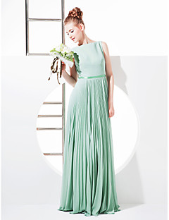 Lanting Bride® Floor-length Georgette Bridesmaid Dress Sheath / Column Bateau Plus Size / Petite with Bow(s) / Sash / Ribbon