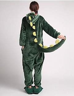 Kigurumi Pajamas Dinosaur Leotard/Onesie / Slippers Halloween Animal Sleepwear Green Patchwork Coral fleece Kigurumi UnisexHalloween /