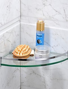Bathroom Shelf Chrome Wall Mounted 21*21*4cm(8.3*8.3*1.5inch) Stainless Steel / Glass Contemporary