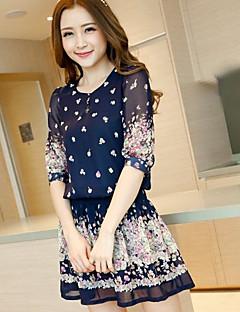 kvindes blå blomster print chiffon bohemia mini dress