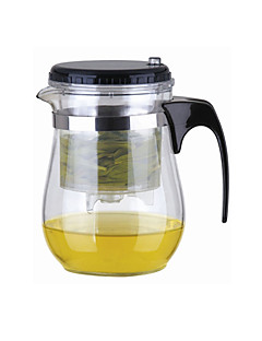 Easy Push Button Strainer Glas Tea Pot med lås (500 ml)