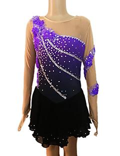 Niña Púrpura y Negro Spandex de manga larga vestido de la figura de patinaje (el tamaño clasificado)