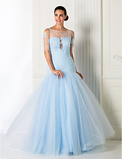 Formal Evening / Prom / Military Ball Dress - Sky Blue Plus Sizes / Petite A-line / Princess Jewel Floor-length Tulle