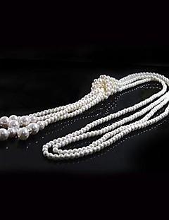 Damen Stränge Halsketten Lange Halskette Perlenkette Kreisform Perle Künstliche Perle Elegant Mehrlagig Schmuck FürHochzeit Party Alltag