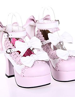 PU Leather 7.5CM High Heel Sweet Lolita Shoes with Row