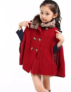 Girl's Fashion Joker Elegant Fur Collars Double Breasted Sweater Knitted Shawl Cape Coat