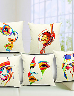Set of 5 Modern Girl Cotton/Linen Decorative Pillow Cover