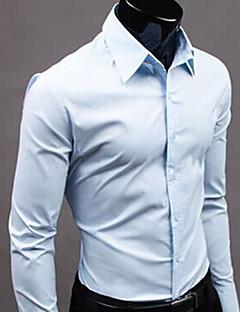 노노 신사 긴 소매 순수한 컬러 셔츠