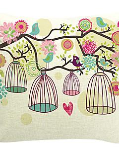 pássaro sussurrante algodão / linho fronha decorativo
