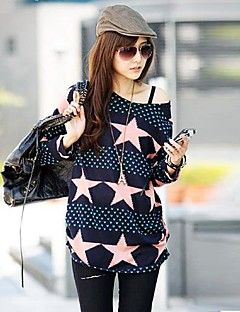 Women's Off The Shoulder Blue And Pink Star Printing - Long T Shirt