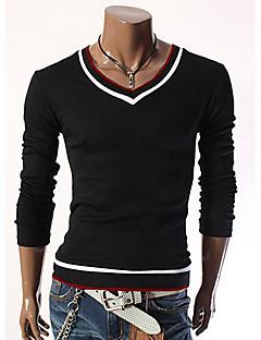 Nono Men Long Sleeve Collar Contrast Color Slim T-Shirt
