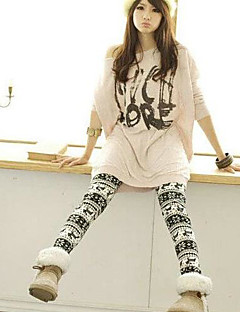 Women Print/Fleece Lined Legging , Cotton Blends