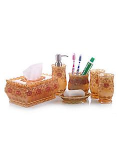 6 db fürdő gyűjtemény készlet műgyanta anyagból arany színű, fürdő együttes, fürdő tartozék készlet