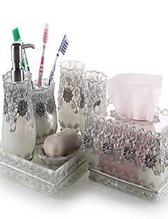 7 részes fürdőszobai kollekció készlet gyanta anyaga ezüst színű, fürdő együttes, fürdő tartozék készlet