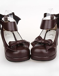 PU Leather 4.5CM High Heel Classic & Traditional Lolita Shoes with Row