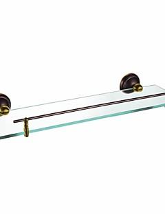 現代オイルは、レールとブロンズ仕上げガラス棚をこすり