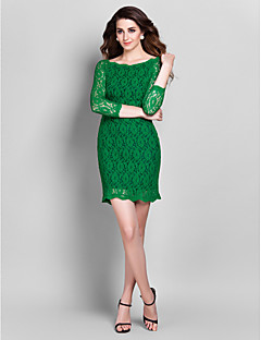 Homecoming Cocktail Party/Prom/Holiday Dress - Clover Sheath/Column Off-the-shoulder Short/Mini Lace