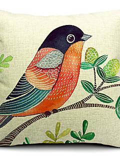 coton belle oiseau / lin taie d'oreiller décoratif