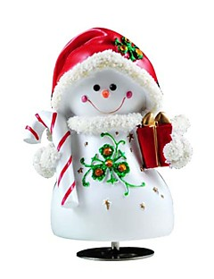 Rotating  Red Snowman Rotating 8 Sound Music Box.