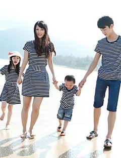 Short Sleeve Cotton/Lycra Family Clothing Sets , Summer Dress/Tee