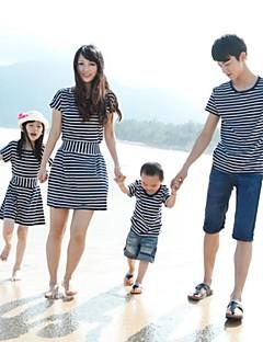 Family's Stylish Round Collar Stripe Backside Bow Cape Sleeve Tees&Dress
