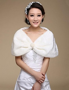 Fur Wraps / Wedding  Wraps Shrugs Sleeveless Faux Fur White Wedding / Party/Evening Lace